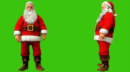 świety mikołaj : Santa Claus is making a wave of his hands on the green screen during Christmas 4k. Seamless loop animation. Wideo