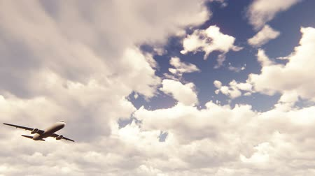 ranvej : Passenger airplane flying overhead against the cloudy blue sky