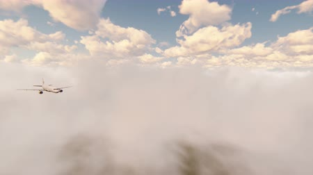 ranvej : Passenger plane flying through the clouds in the blue sky