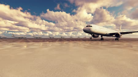 letadlo : Passenger plane takes off on a Sunny day against the background in slow motion
