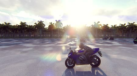 kask : Motorcycles go forward at high speed on a sunny day. Realistic 4k animation.
