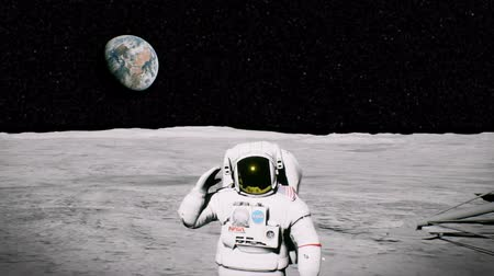 solar : Astronaut on the moon near the lander salutes. 3D animation background Stock Footage