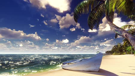 sobre o branco : Palm trees on a tropical island with blue ocean, old boat and white beach on a Sunny day. Beautiful summer scene. Loopable.