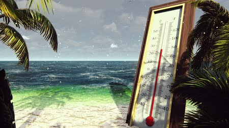 temp : Thermometer Fahrenheit Celsius shows lowering temperature. The concept of global cooling. Stock Footage