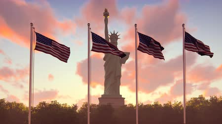 usa independence day : The American flags flutters in the wind on a sunrise against the blue sky and the Statue of Liberty. The symbol of America and the American national holiday.