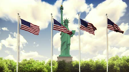 listras : The American flags flutters in the wind on a Sunny day against the blue sky and the Statue of Liberty. The symbol of America and the American national holiday. Loopable.