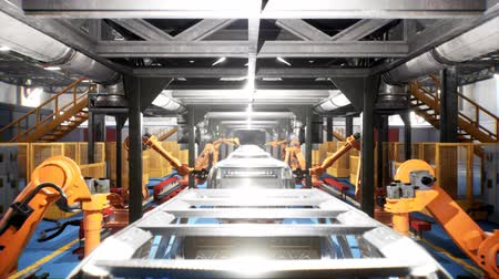 spawacz : Car welding line of conveyor with frameworks of unfinished cars and robots welders Wideo