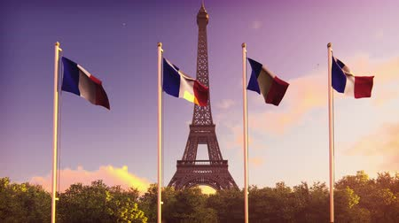 üç renkli : The Flag Of France. Beautiful animation of the French flag on the background of blue sky, clouds and Eiffel tower