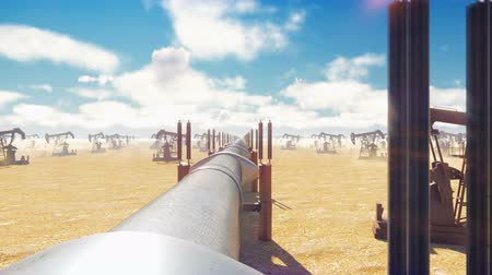 csővezeték : Pump Jack and pipeline for oil on a Sunny day. Pipeline transportation natural gas or oil. Realistic cinematic animation. Camera is moving along the pipeline.