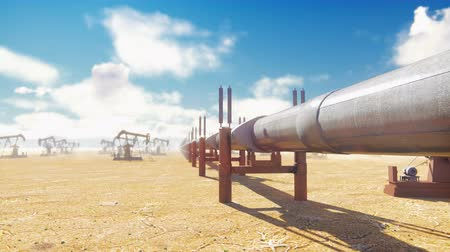 crude : Pump Jack and pipeline for oil on a Sunny day. Pipeline transportation oil. Realistic cinematic animation. Camera is moving along the pipeline.