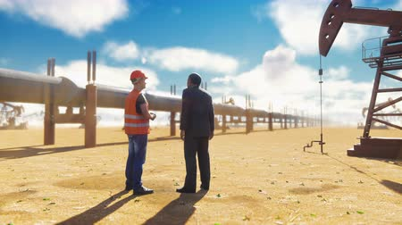 broca : Oilman and businessman talking near the pipeline on a Sunny day on the background of oil pumps. Realistic cinematic animation. Stock Footage