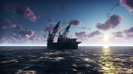broca : Drilling Oil Offshore Platform In Sea at sunrise. Realistic cinematic animation.
