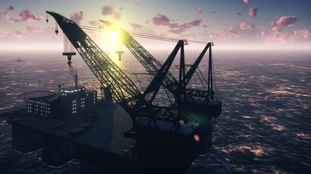 oliwa : Oil platform, offshore platform, or offshore drilling rig in sea at sunset. Realistic cinematic animation. Wideo