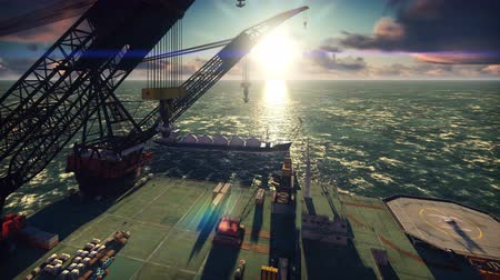 construction crane : Oil drilling platform with a passing oil tanker in the sea at sunrise. Realistic cinematic animation. Stock Footage