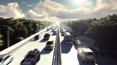 desfocado : The camera flies over heavy traffic. Cars go through the city in the afternoon.