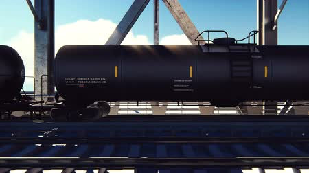 petroleum refinery : Rail tank cars with oil on the rails at sunrise. Train transportation of tankers. The container of the liquid fuel oil. Heavy industry, trade, transport. Looped realistic animation. Stock Footage