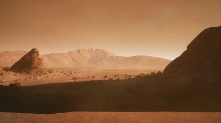 Марс : Panoramic landscape on the surface of Mars. Realistic cinematic animation.