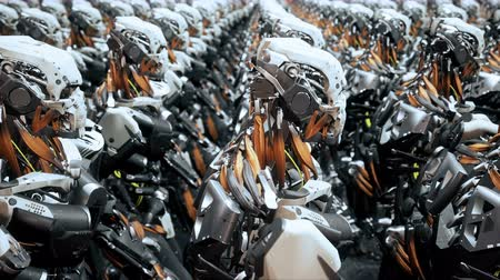 batalha : The camera flies past a squad of marching robot soldiers on a spaceship. Super realistic cinematic sci-fi animation