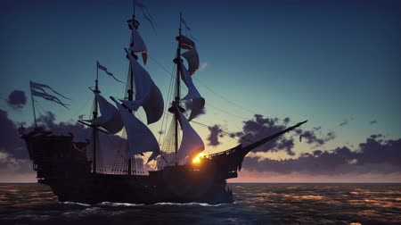 bitva : Large medieval ship on the sea on a sunrise. The old medieval ship gracefully sails in the open sea. Looped realistic animation.