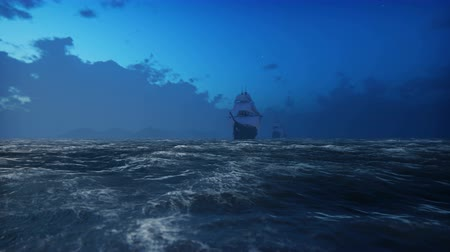 fleet : Medieval Wooden boats on the sea in the fog. Pirates sailing down the sea on a ship. Looped realistic animation.