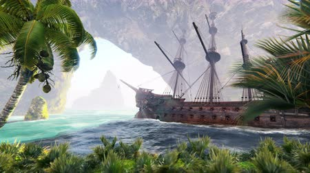buque de guerra : A large medieval ship at sea on a Sunny day near ancient rocks. An ancient abandoned medieval ship found its home on a desert rocky island. Looped realistic animation. Archivo de Video