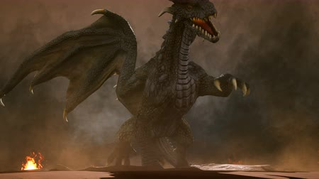 mytický : A big angry dragon in the desert is fighting off its enemies. 3D animation fantasy background.