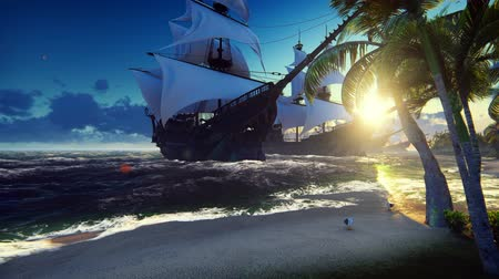 fleet : A large medieval ships at sea at sunrise. An ancient medieval ships moored near a desert tropical island. Looped realistic animation.