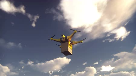 elétrico : Autonomous package delivery by unmanned hexacopter flying on a Sunny day.