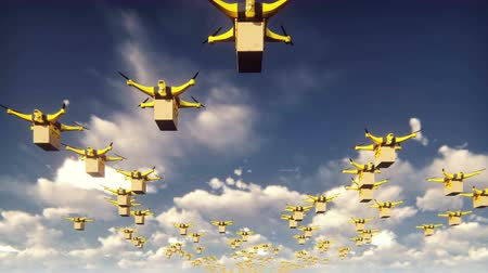 робот : Autonomous delivery of parcels by unmanned drones flying on a Sunny day.