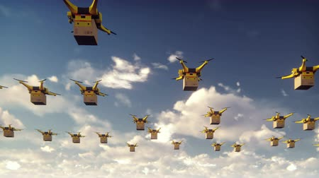 paket : Autonomous delivery of parcels by unmanned drones flying on a Sunny day.