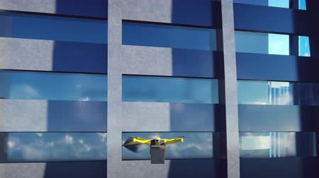 kontrolovány : Autonomous delivery of parcels unmanned quadrocopter flying in a modern metropolis on a Sunny day.