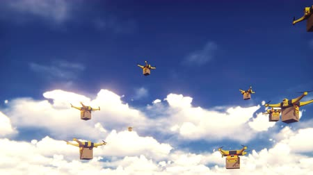 elétrico : Autonomous delivery of parcels by unmanned quadrocopters flying on a Sunny day.
