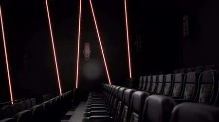 初演 : Cinema interior of movie theatre with rows of empty seats. Movie entertainment concept. 動画素材