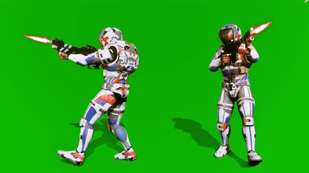 commando : A lone soldier of the future attacks the enemy on the background of the green screen. Looped realistic animation. Stock Footage
