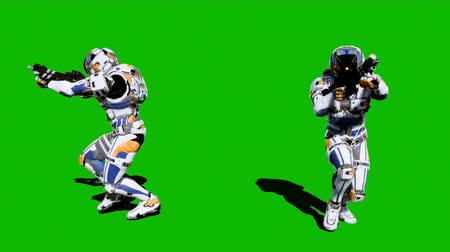 tropas : A lone soldier of the future runs with weapons on a green screen background. Looped realistic animation.