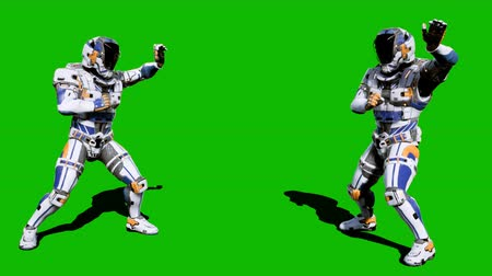 tropas : Cosmonaut-soldier of the future fights in front of the green screen. Looped realistic animation.