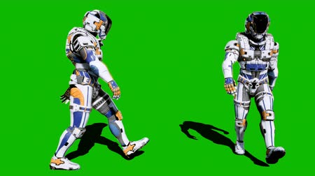 tropas : A lone soldier of the future walking on a green screen background. Looped realistic animation.