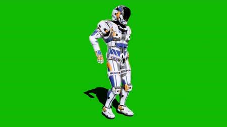 commando : Astronaut-soldier of the future, dancing in front of a green screen. Realistic animation.