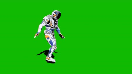 geweren : Astronaut-soldier of the future, dancing in front of a green screen. Looped realistic animation.