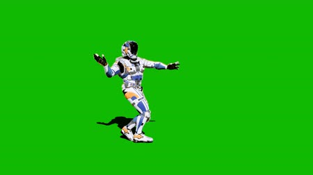войска : Astronaut-soldier of the future, dancing in front of a green screen. Looped realistic animation.