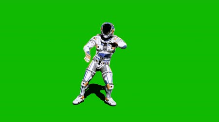 tropas : Astronaut-soldier of the future, dancing in front of a green screen. Realistic animation.