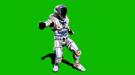 武装 : Astronaut-soldier of the future, dancing in front of a green screen. Looped realistic animation.
