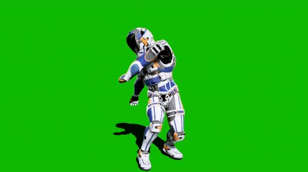 tropas : Astronaut-soldier of the future, dancing in front of a green screen. Looped realistic animation.