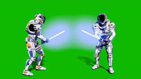 войска : Astronaut-soldier of the future fighting with a lightsaber in front of a green screen. Realistic animation.