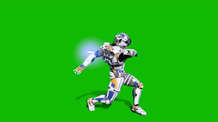 commando : Astronaut-soldier of the future fighting with a lightsaber in front of a green screen. Realistic animation.