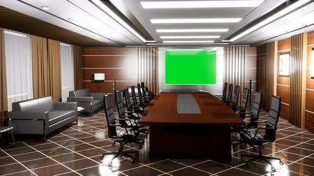 pisos : Upscale modern empty office with wooden floors, Desk, armchairs and TV panel with green screen