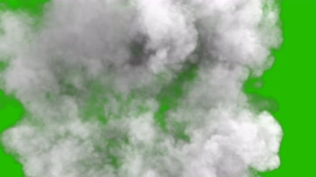 pyrotechnical : Smoke after a strong explosion and Shockwave in front of a green screen.