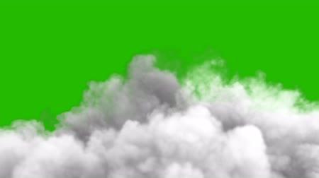 pyrotechnical : An increasing cloud of Smoke after a strong explosion and shockwave in front of a green screen. Stock Footage