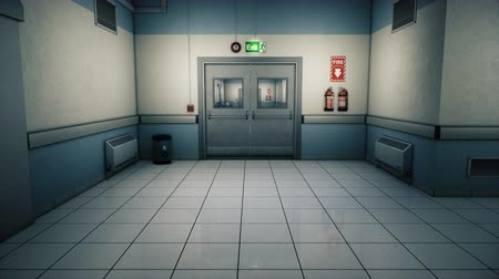 egészségügy és az orvostudomány : Empty hospital endless corridor. Empty corridor of the clinic. A long endless hallway with doors. The corridor of the medical center. Mysterious deserted corridor. Looped realistic 3D animation.