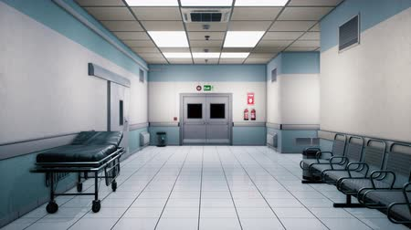 médicos : Empty hospital endless corridor. Empty corridor of the clinic. A long endless hallway with doors. The corridor of the medical center. Mysterious deserted corridor. Contains the alpha channel.